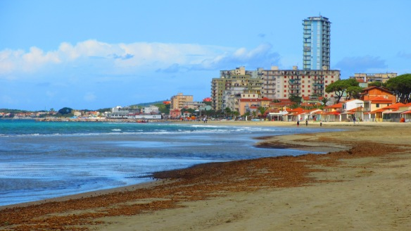 This photo of Follonica was taken just a few steps out the front door of our beach house.