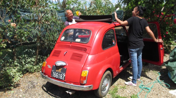 "Enzo proudly showed off his Fiat 500 to my girlfriend. He described it as ""The symbol of Italy""."