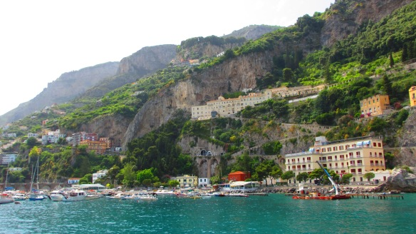 View from the ferry as you motor past the town of Amalfi